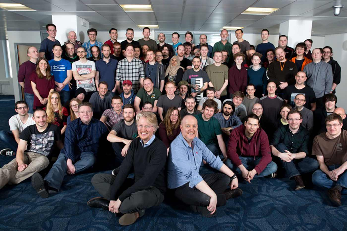 Codemasters are moving to the Custard Factory, Digbeth, Birmingham. Pictured, Lucan Gray (Custard Factory), seated foreground left with Nick Craig (Studio Manager) seated right, surrounded by the staff of Codemasters.