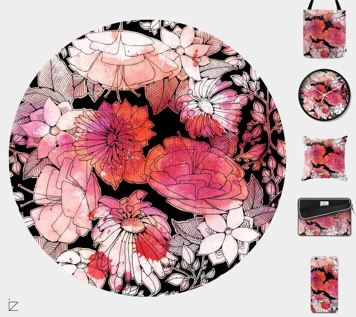 summer-flowers-ink-and-watercolors-pattern