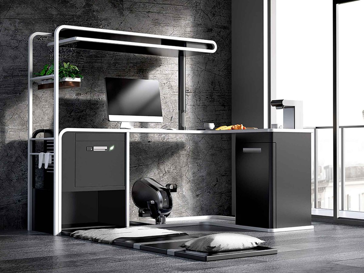 Viking designs Omnidesk with 15 functions including bed, coffee machine, exercise bike