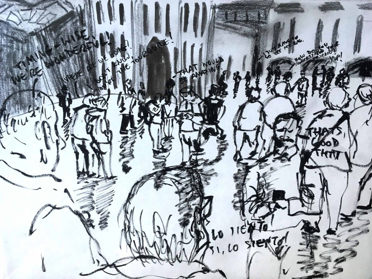 """""""Be productive every day, whether that is making new work or contacting potential clients"""" – drawing by Luca Bowles"""